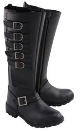 "Women's 17"" Side Strap Riding Boot w/ Side Zipper Entry - highwayleather"
