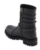 "Women's 9"" Triple Buckle Leather Harness Boot W/ Side Zipper Entry - HighwayLeather"
