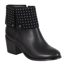 Ladies Black Side Zipper Entry Round Toe Boot w/ Studs - highwayleather
