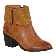Ladies Cognac Side Zipper Entry Round Toe Boot w/ Studs - HighwayLeather
