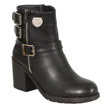 Ladies Black Triple Buckle Side Zipper Boot w/ Platform Heel - highwayleather