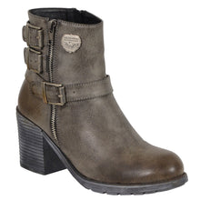 Ladies Grey Triple Buckle Side Zipper Boot w/ Platform Heel - highwayleather