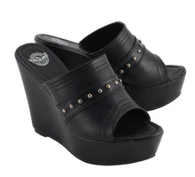 Women Open Toe Wedge W/ Rivet Detail - HighwayLeather