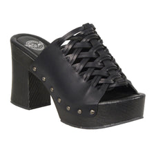 Ladies Lace Top Platform Heel Shoe w/ Studs - highwayleather