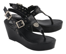 Women Buckled Strap Wedge Sandal - HighwayLeather