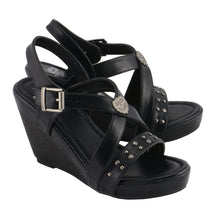Ladies Triple Strap Studded Wedge Sandal - highwayleather