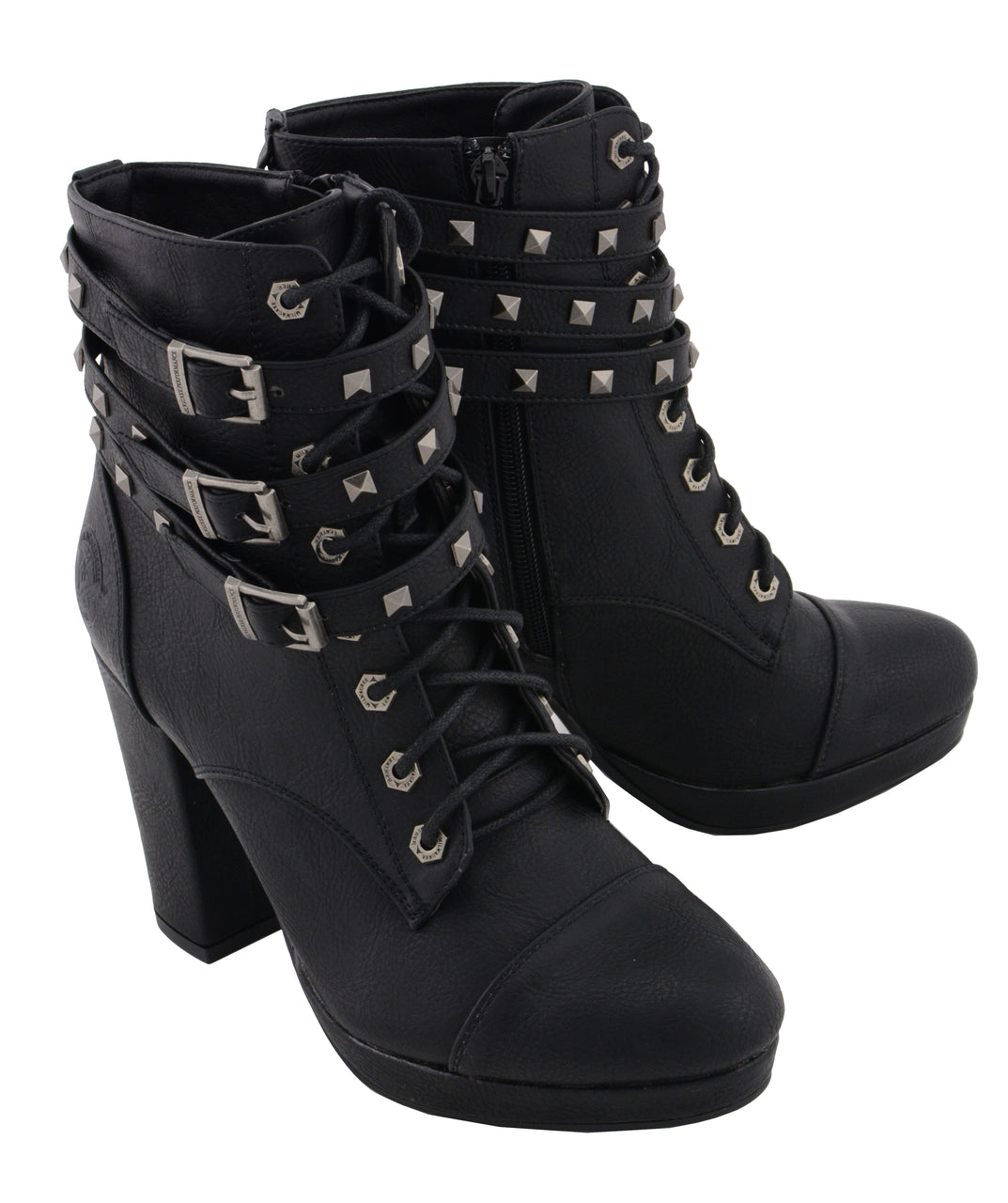 Women Lace to Toe Boot w/ Triple Strap Studded Accents - HighwayLeather
