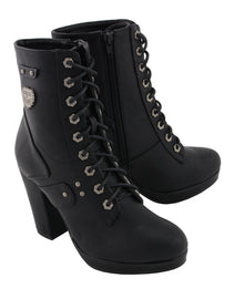 Women Lace to Toe Platform Boot w/ Studded Accents - HighwayLeather