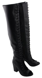 Women Lace Front Knee High Boot w/ Open Toe - HighwayLeather