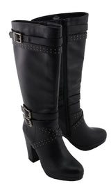 Women Studded Strap Boot w/ Platform Heel - HighwayLeather