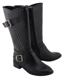 Women Studded Boot w/ Studded Outsole - highwayleather