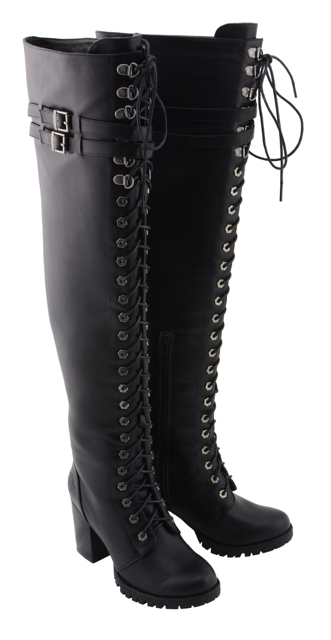 Women Above the Knee Boot w/ Lace to Toe Design - HighwayLeather