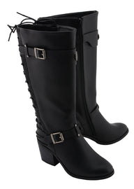 Women Back End Laced Riding Boot - highwayleather
