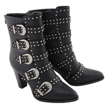 Ladies Buckle Up Boot w/ Studded Bling - highwayleather