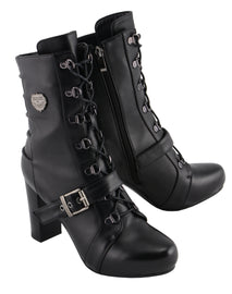 Women Lace Front Boot w/ Block Heel - highwayleather
