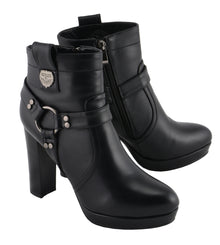 Women Harness Ankle Boot w/ Block Heel - HighwayLeather