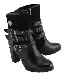 Women Triple Strap Riding Boot w/ Block Heel - HighwayLeather