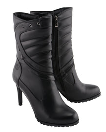 Women High Heel Boot w/ Zipper Accents - highwayleather
