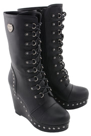 Women Lace Front Boot w/ Platform Wedge - HighwayLeather