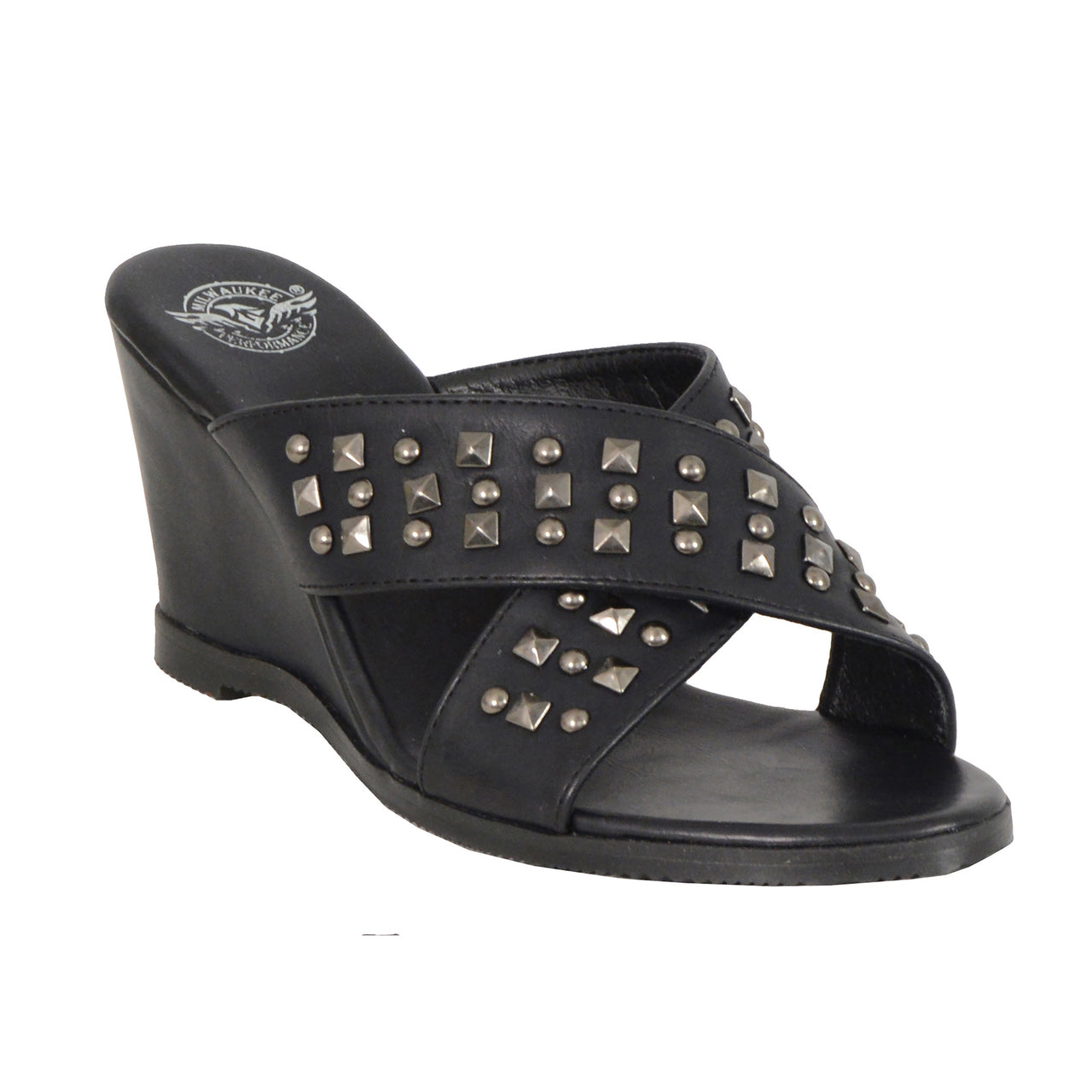 Ladies Studded Crossover Strap Wedges - HighwayLeather