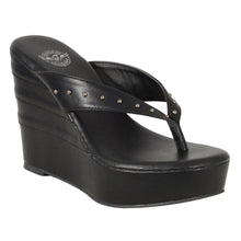Ladies Studded Wedge Sandals - highwayleather