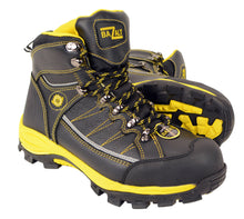 BAZALT-Men's Black & Yellow Water & Frost Proof Leather Boots W/ Composite Toe-BLK/YELLOW-7 - HighwayLeather