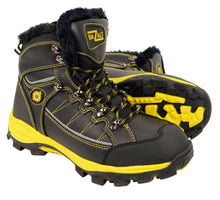 BAZALT-Men's Black & Yellow Water & Frost Proof Leather Boots w/ Faux Fur Lining-BLK/YELLOW-7 - HighwayLeather