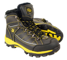 BAZALT-MBM9125ST-BAZALT-Men's Black & Yellow Water & Frost Proof Leather Boots w/ Faux Fur Lining & Composite Toe-BLK/YELLOW-7 - highwayleather