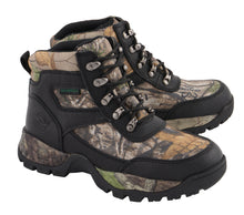 Men's Waterproof Black Hiking Boot w/ Mossy Oak® Print - highwayleather