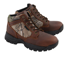 Men's Waterproof Brown Work Boot w/ Mossy Oak® Print - HighwayLeather