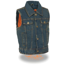 Kids Denim Shirt Collar Snap Front Vest - highwayleather