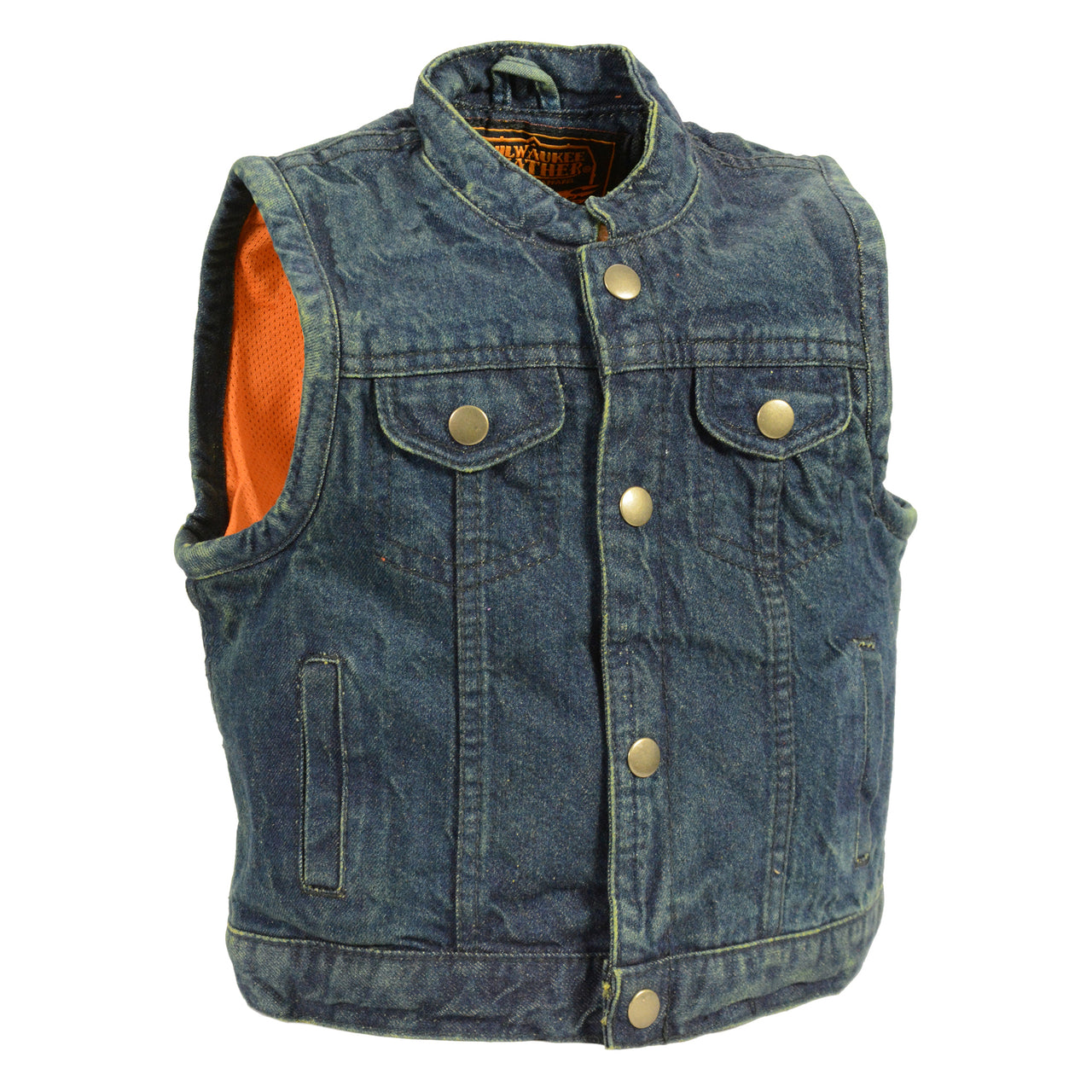 Kids Denim Club Style Snap Front Vest - highwayleather