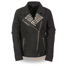 Ladies Zipper Front Black Denim Jacket w/ Studded Spikes - HighwayLeather