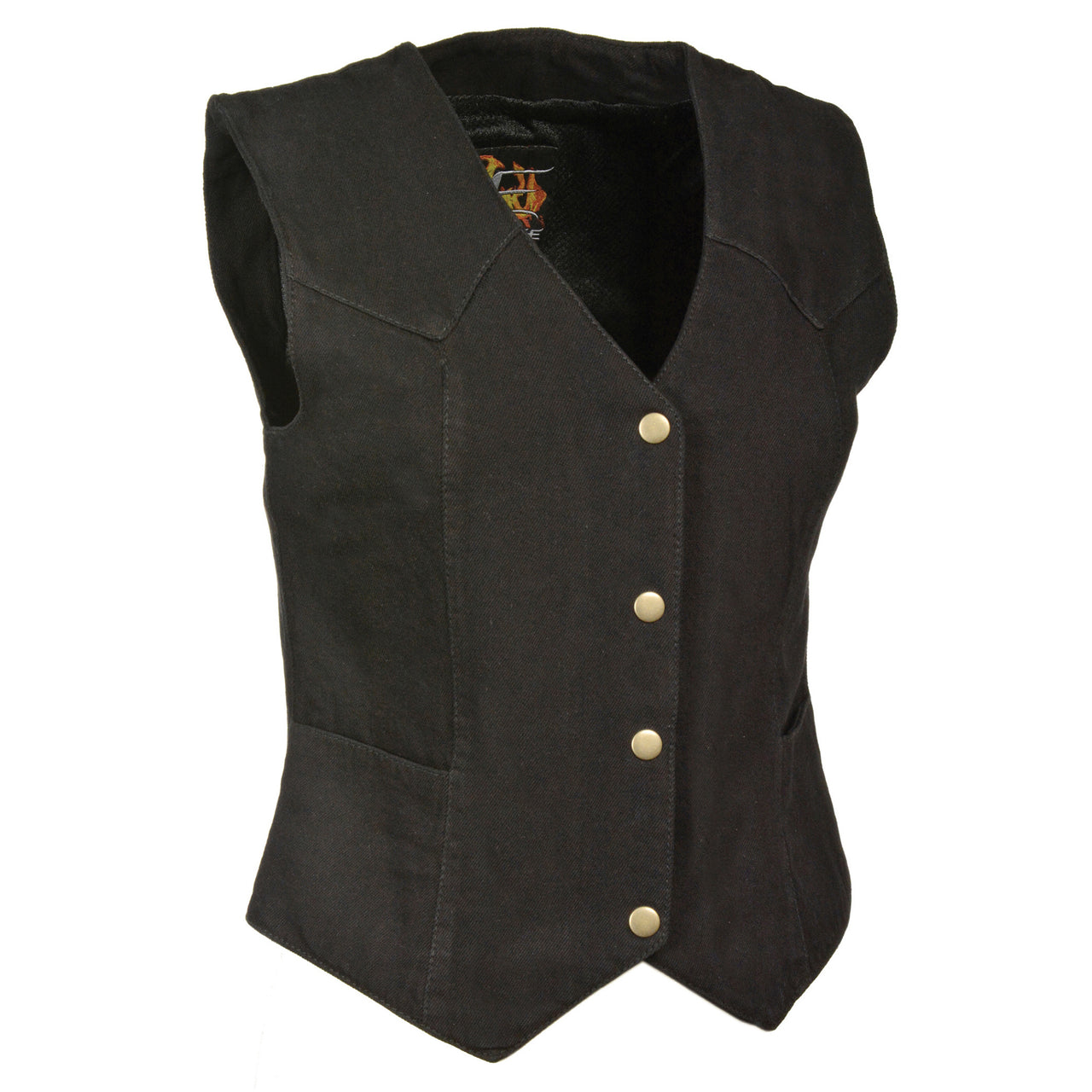 Ladies Plain Side 3 Snap Front Denim Vest - HighwayLeather