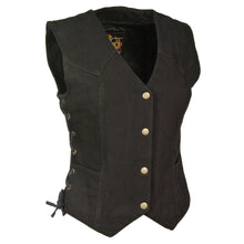 Ladies Side Lace 3 Snap Front Denim Vest - HighwayLeather