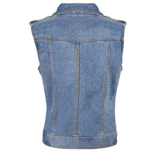 Ladies Zipper Front Black Denim Vest w/ Studded Spikes - HighwayLeather
