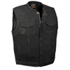 Men's Collarless Denim Club Vest w/ Hidden Zipper - HighwayLeather