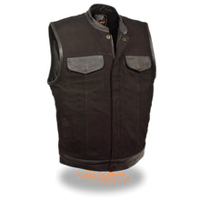 Men's Denim Club Vest w/ Leather Trim & Hidden Zipper - HighwayLeather