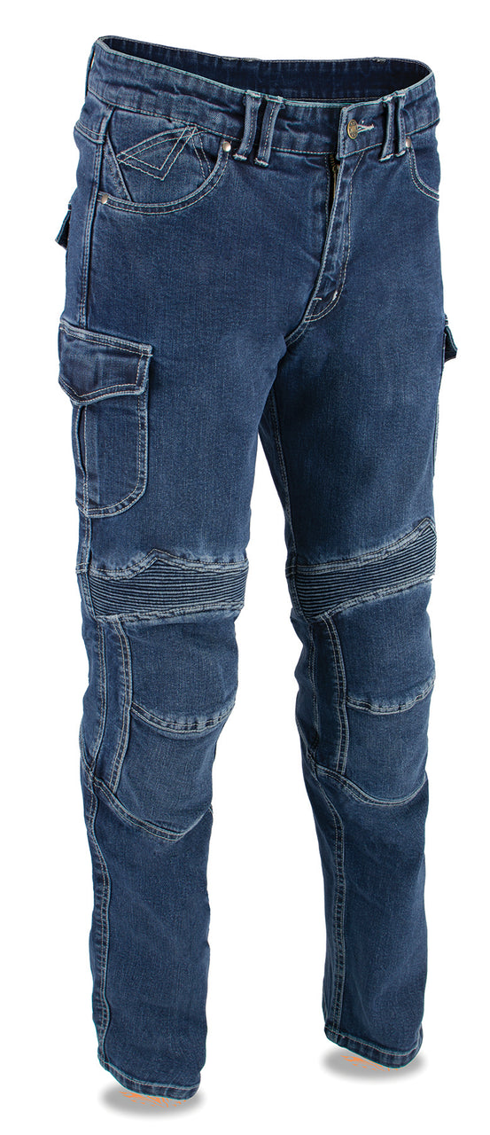 Men's Armored Straight Cut Denim Jeans Reinforced w/ Aramid® by DuPont™ Fibers - HighwayLeather