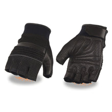 Men's Leather & Mesh Fingerless Gloves with Gel Palm, Reflective Piping - HighwayLeather