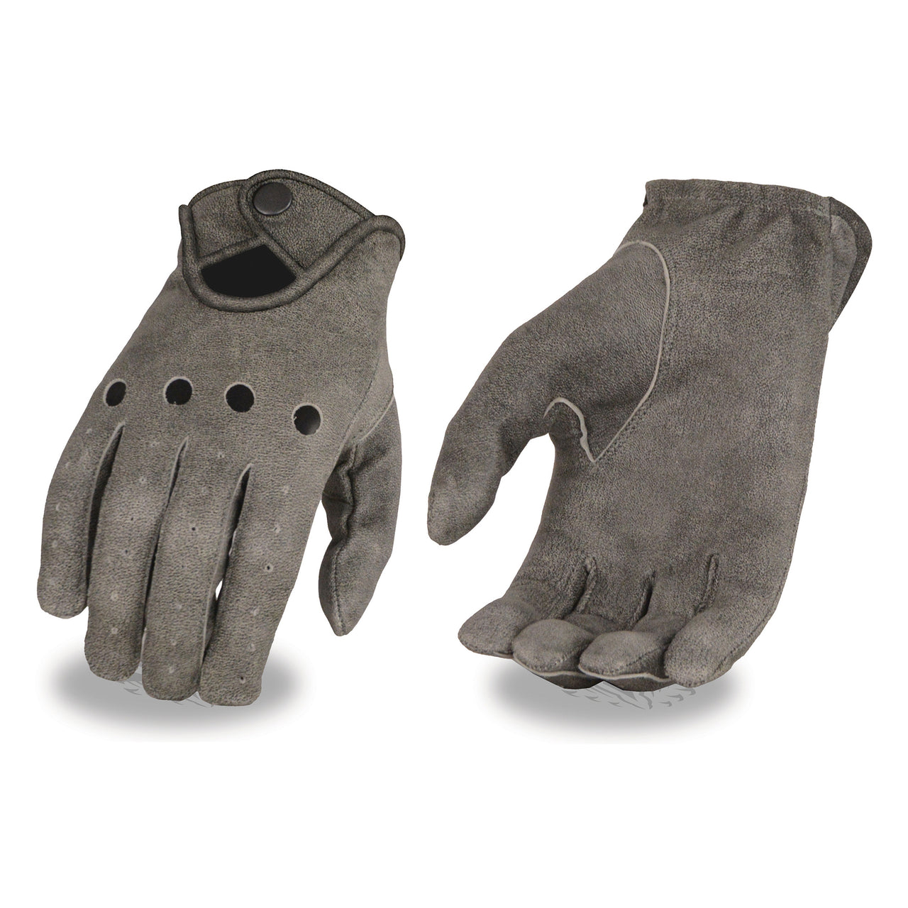 Men's Distressed Grey Leather Driving Gloves with Wrist Snap - HighwayLeather