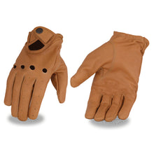 Men's Saddle Tan Leather Driving Gloves with Wrist Snap - HighwayLeather