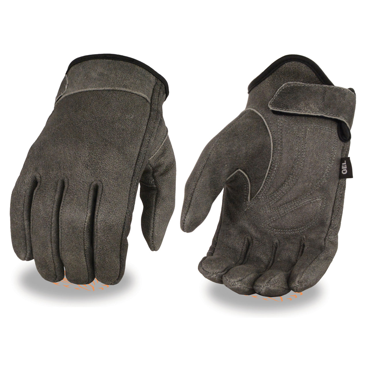 Men's Distressed Gray Leather Gloves with Gel Palm & Wrist Strap - HighwayLeather