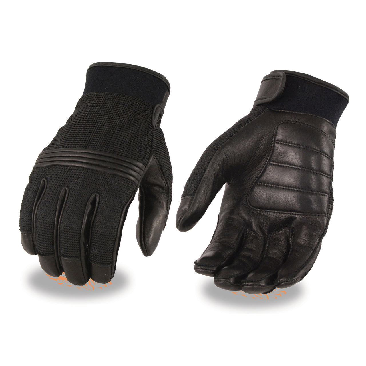 Men's Leather/Mesh Perforated Glove w/ Gel Palm & Flex Knuckles - HighwayLeather