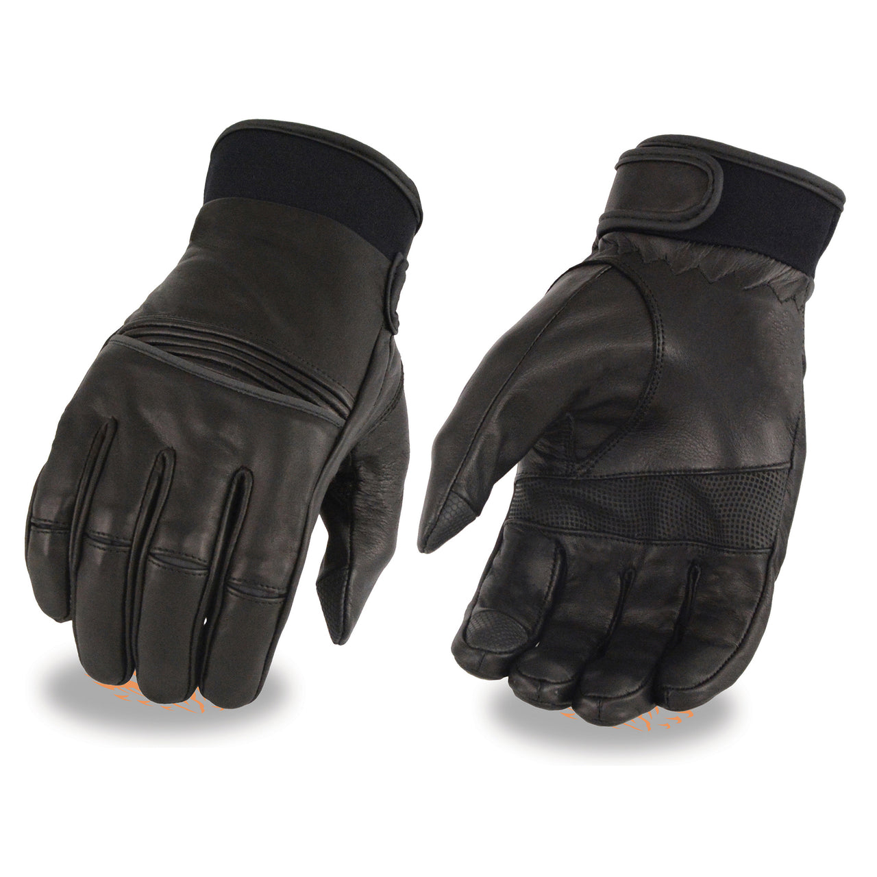 Men's Leather Riding Glove w/ Stretch Knuckles - I-Touch - HighwayLeather