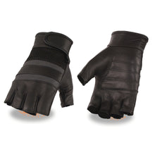 Men's Leather & Mesh Fingerless Gloves with Gel Palm, Reflective Band - HighwayLeather
