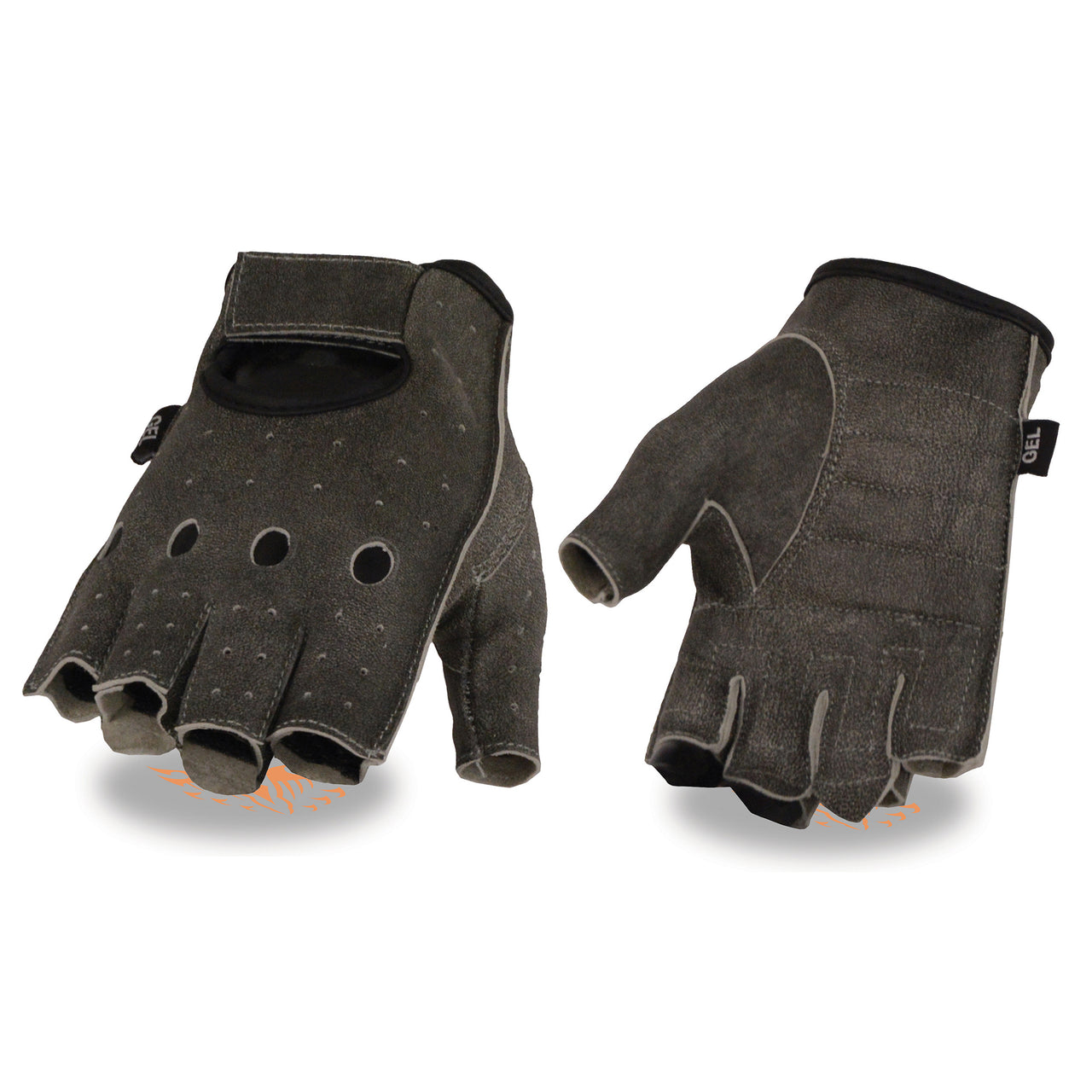 Men's Distressed Gray Leather Fingerless Gloves w/ Gel Padded Palm - HighwayLeather