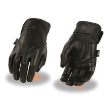 Ladies Lightweight Leather Gauntlet Gloves w/ Gel Palm - highwayleather