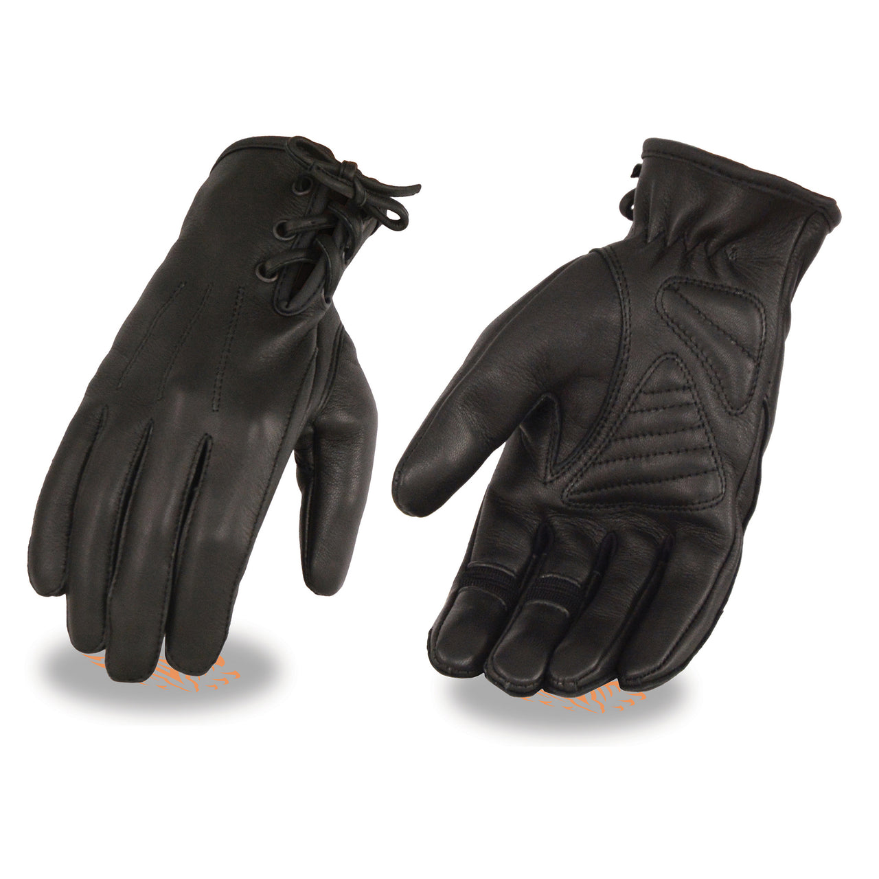 Ladies Deerskin Leather Riding Glove w/ Gel Pam & Laced Wrist - HighwayLeather