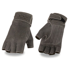 Ladies Leather Fingerless Glove w/ Gel Pam & Rivet Detailing - highwayleather